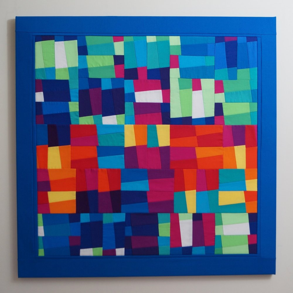 Sequence: 2 - 75cm square2016* 100% cotton fabric* 100% cotton batting* calico backing* tie quilted* stretched on a canvas stretcher* split batten wall fastening* signed and dated on reverse £1463