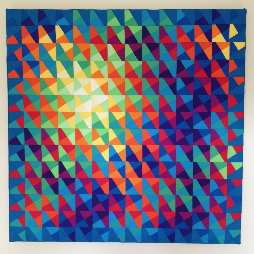 Fifth Day: Let the waters teem (2) - 83cm square2018* 100% cotton fabric* 100% cotton batting* calico backing* stretched on a canvas stretcher* split batten wall fastening* signed and dated on reverse £2640