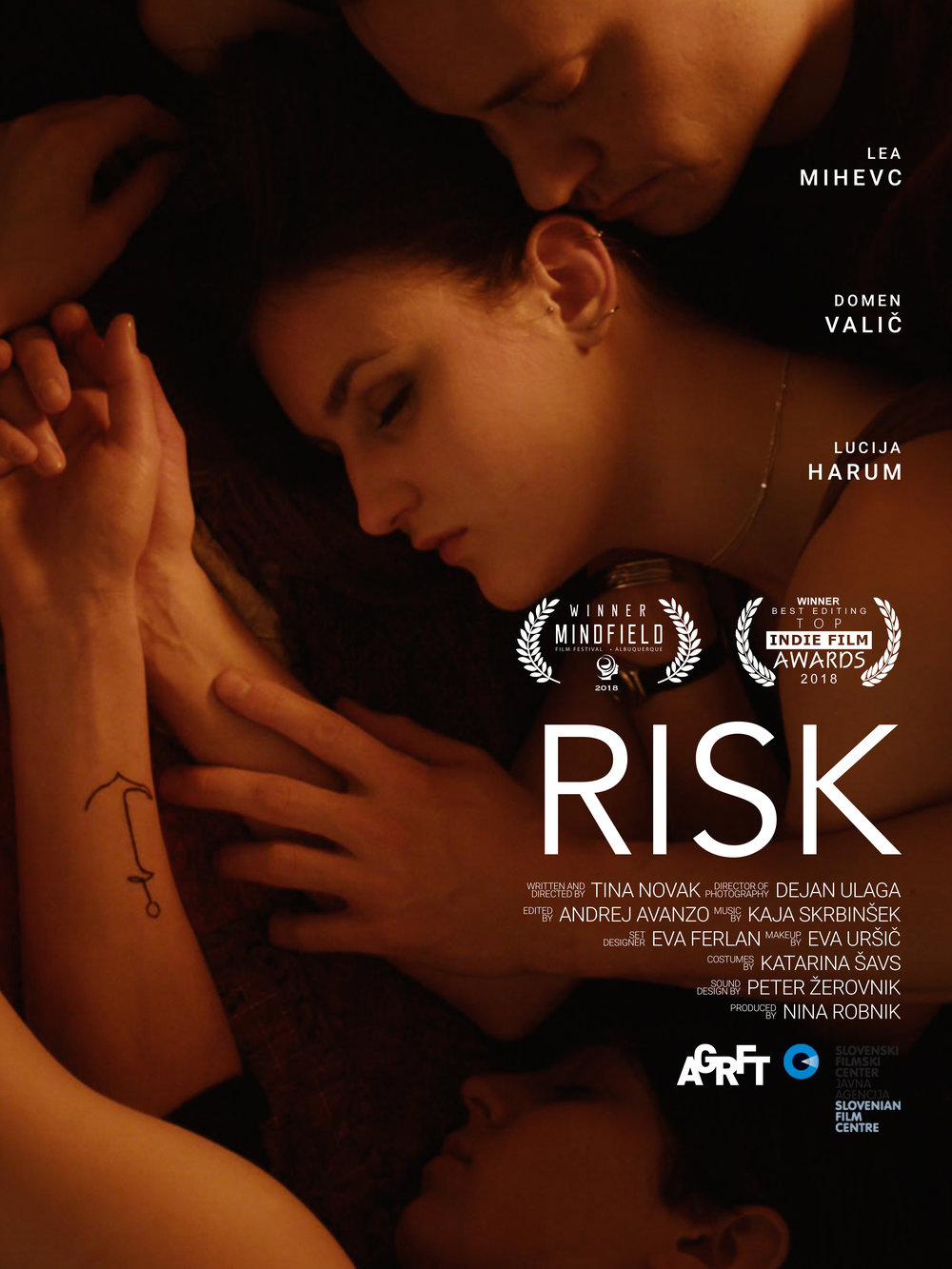 RISK - A short film directed by Tina Novak is a project I am really proud of. Some festivals are still waiting for us but amongst many nominations so far the film has won Best Short Film at Mindfield Film Festival (Albaquerque) , Best Editing at Top Indie Film Awards (USA) , Best Student Director at LIFFE ( Serbia), Best Cinematography at RUFF (London)and was nominated for Best Short at LGBT Toronto Film Festival (Canada) and Genre Celebretion Film Festival (Tokyo) where I was also nominated for Best Male Lead. It got other nominations at differrent festivals as well.
