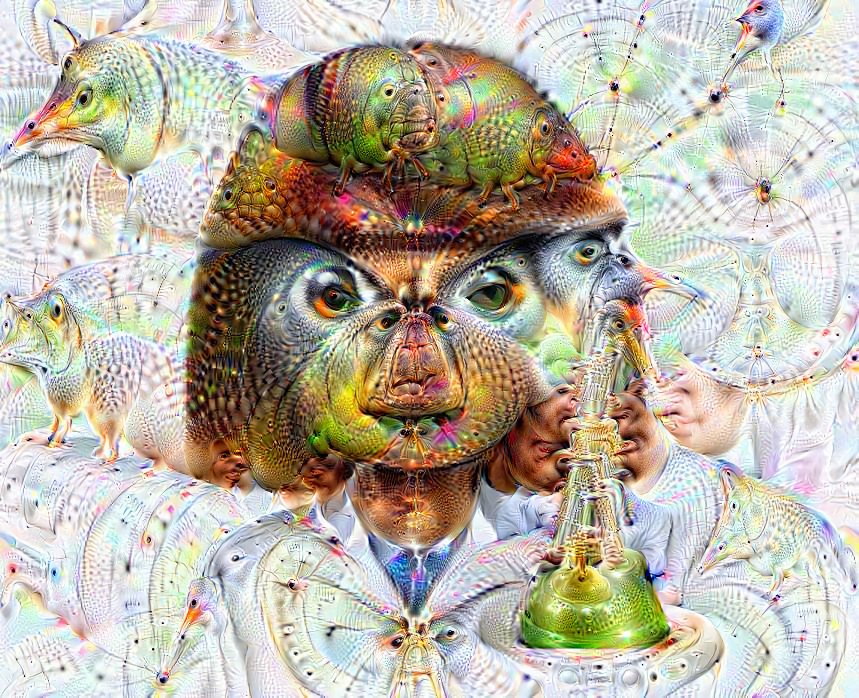 Deep dream of Woman scientist (👩🏽‍🔬) (level 1)