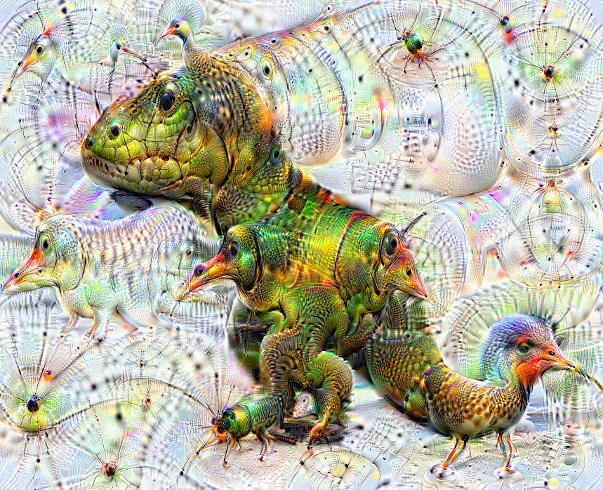 Deep dream of T-Rex (🦖) (level 2)
