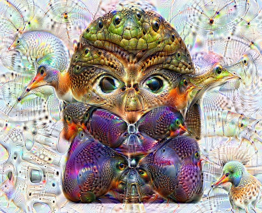 Deep dream of Woman gesturing no (🙅🏽‍♀️) (level 1)