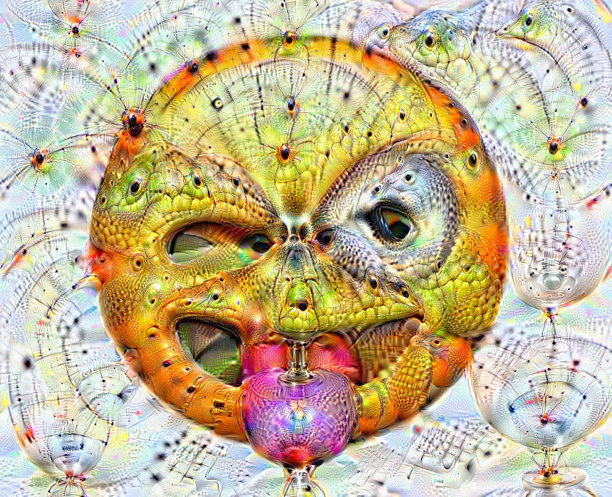Deep dream of Winking face with stuck-out tongue (😜) (level 2)