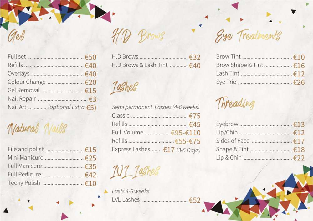 Price List — Glam Gals | Galway Beauty Salon and Nail Academy Galway