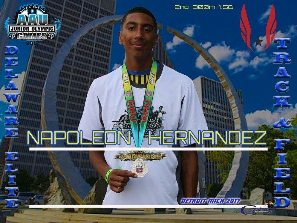 Napleon Hernandez - Silver medalist in 800m Jr Olympics