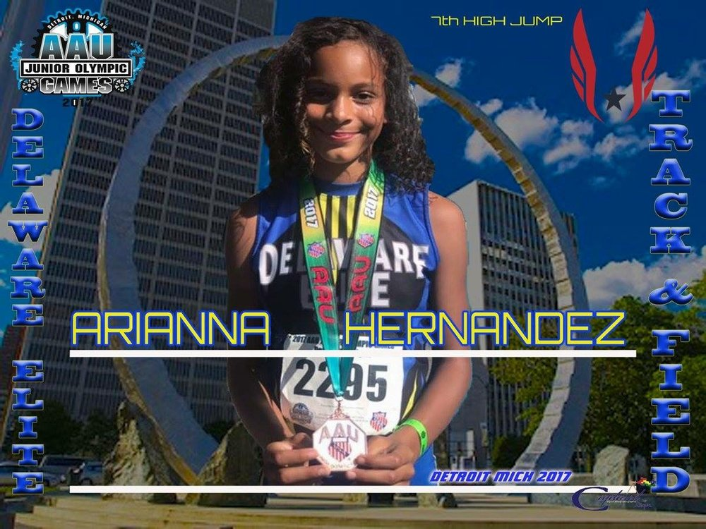 Arianna Hernandez - 4th place medalist in the High Jump Jr Olympics