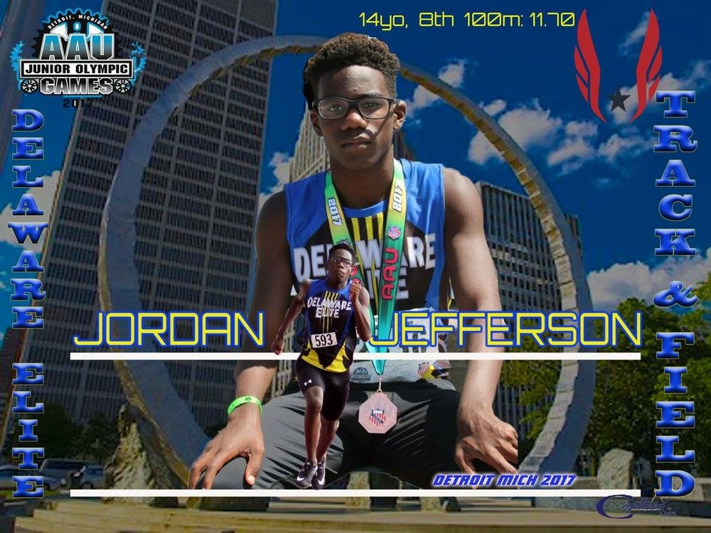 Jordan Jefferson - 8th place medalist in the 100m dash Jr. Olympics - 13/14 age division
