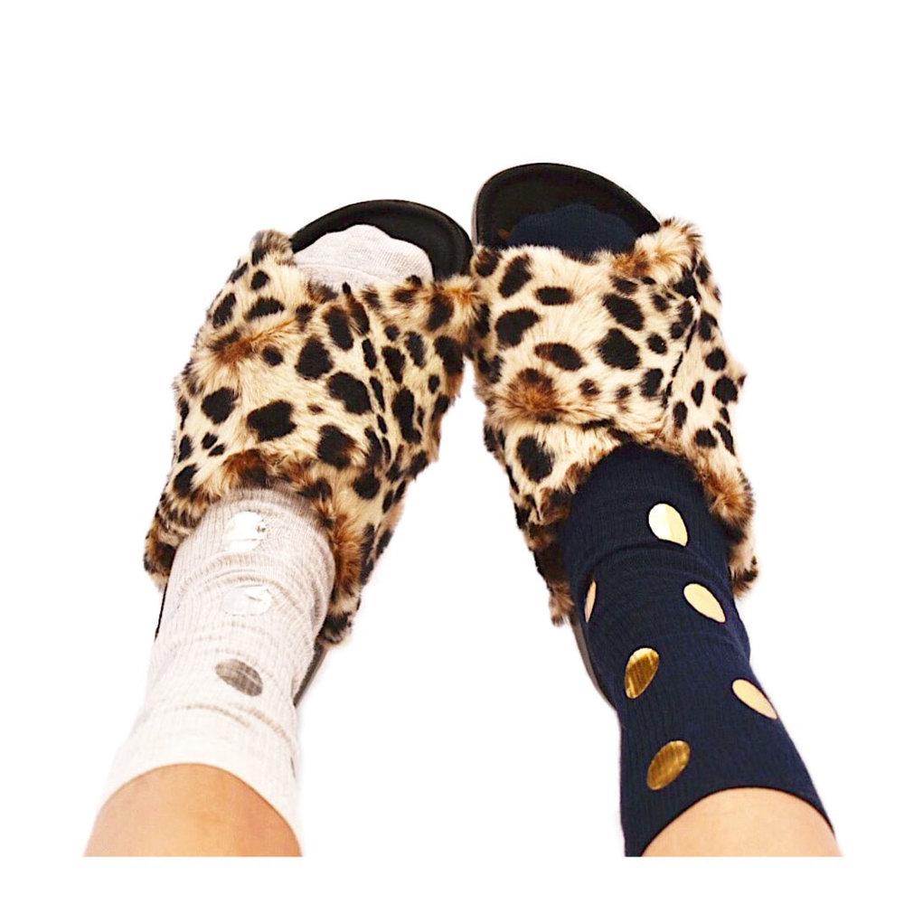 Leopard sandals polka dot socks.JPG