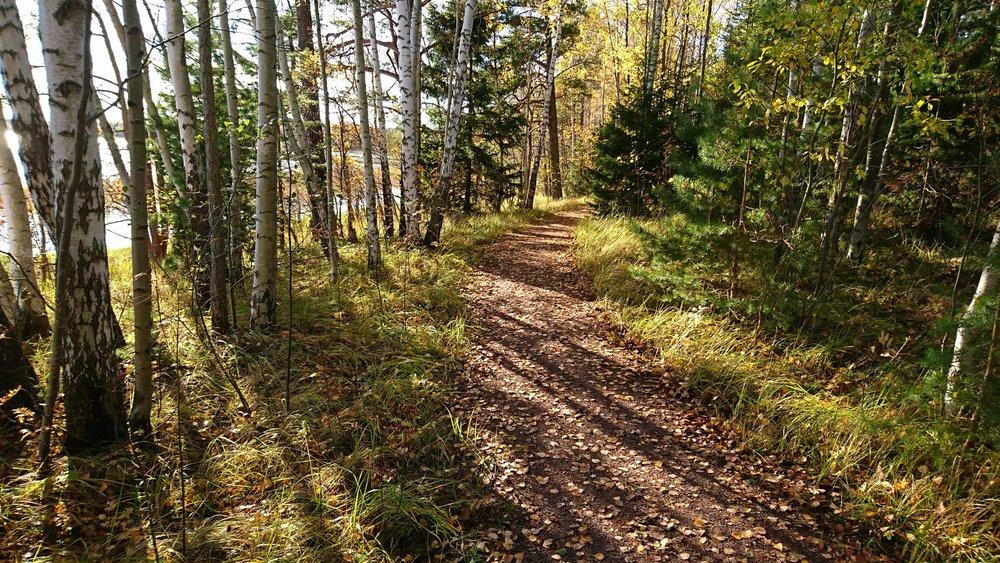 Pienten metsäpolkujen lisäksi reitillä on myös muutaman kilometrin verran kapeaa mutta hyväpohjaista ulkoilupolkua.