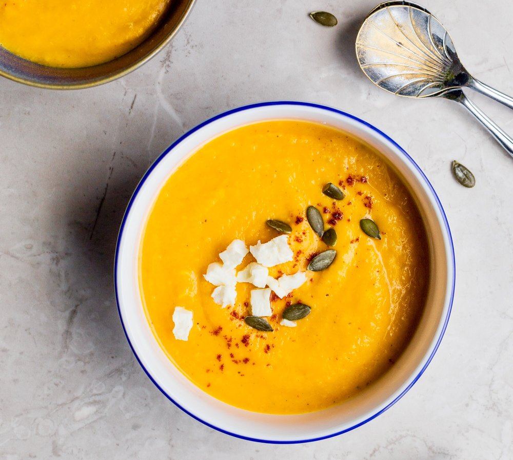 Creamy Curried Cauliflower and Butternut Squash Soup