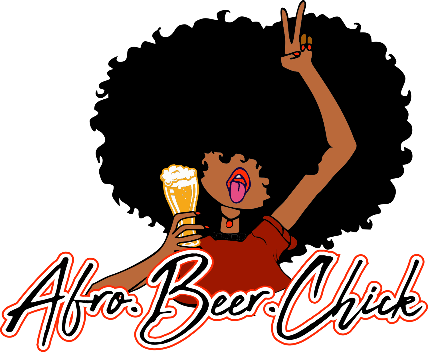 Afro.Beer.Chick