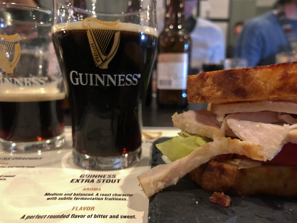 Guinness Extra Stout paired with Irish Soda Bread Club Sandwhich