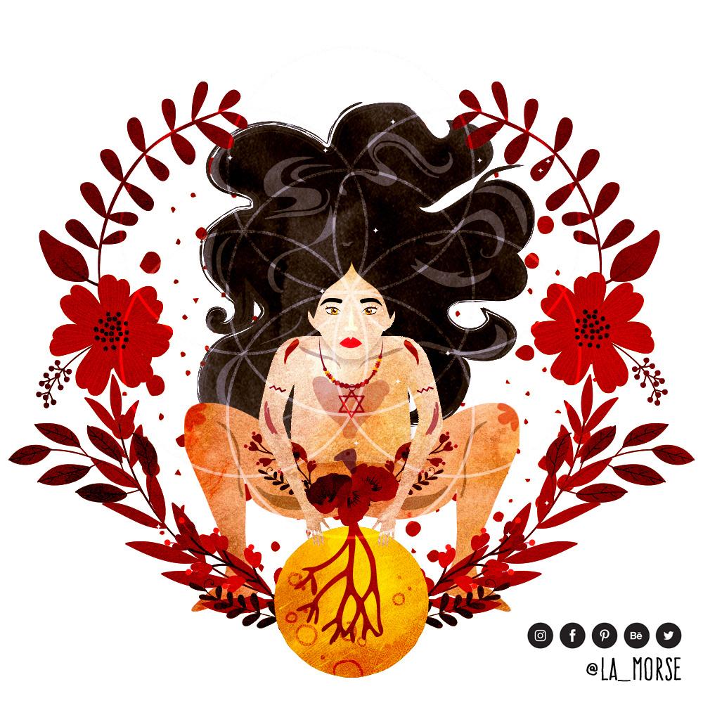 """Arsenia Calvillo (La Morse), """" Roja 🍓 Soy redonda, soy cíclica, soy agua, soy una y"""""""