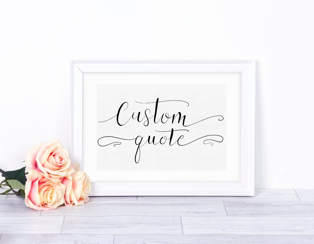 - Do you have an inspirational quote you love and would like to have it framed? I can do that for you. I can customize the quote completely - from color of background and letters, to size and materials, including watercolor lettering, glitter, and foil.