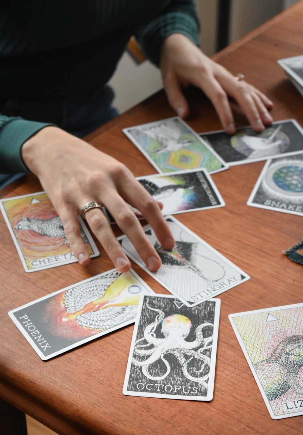 Amy sometimes uses these animal cards in a session with her clients.