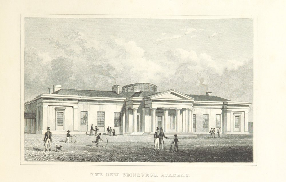 "The ""New"" Edinburgh Academy by T.H. Shepherd, 1828, an early example of cricket in Scotland."