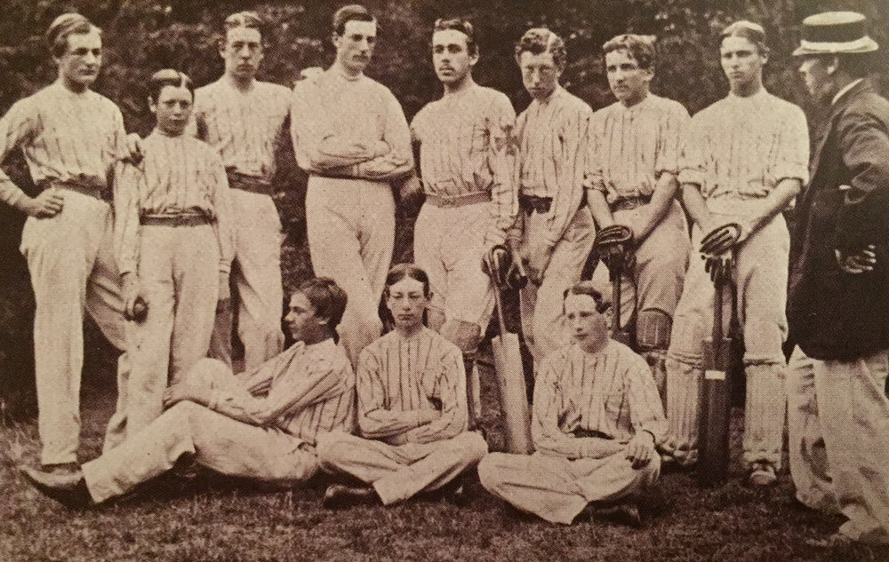 Academy XI wearing white shirts with narrow blue stripes in the 1860s.