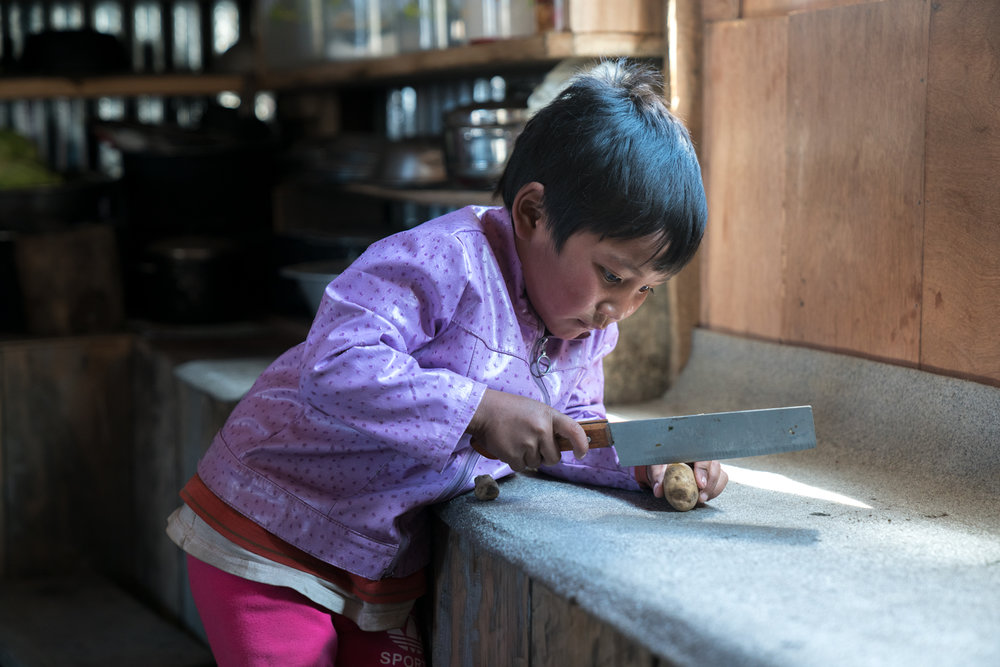 Young girl cutting a potato-  Langtang, Nepal