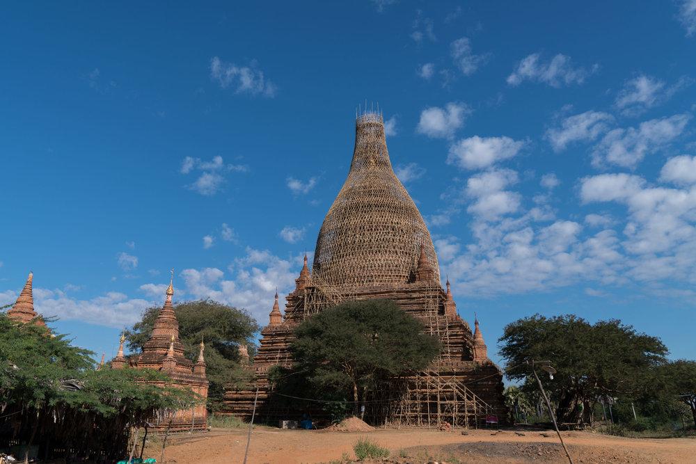Scaffolding covering temple restoration-  Bagan, Myanmar