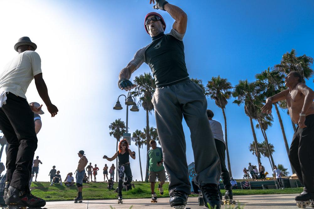 Sunday dance party on roller skates- Venice Beach, CA