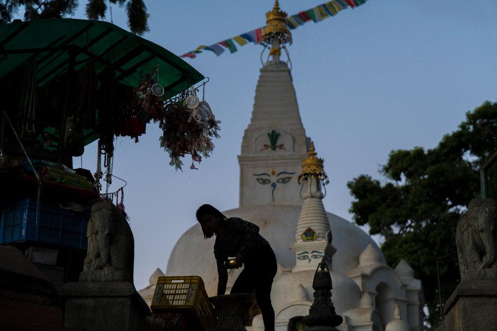 Closing Shop-  Swyambunath Temple, Kathmandu