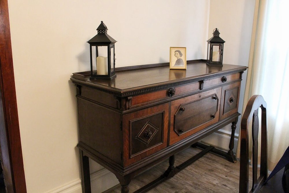 antique buffet in the farmhouse