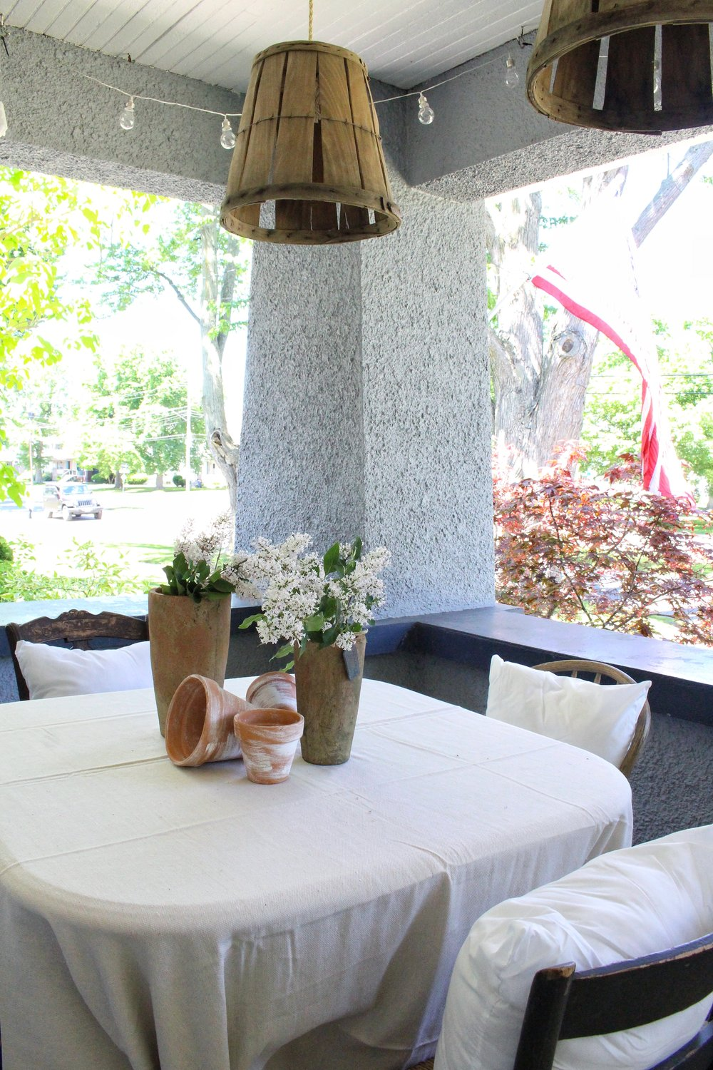 Dining table for summer porch