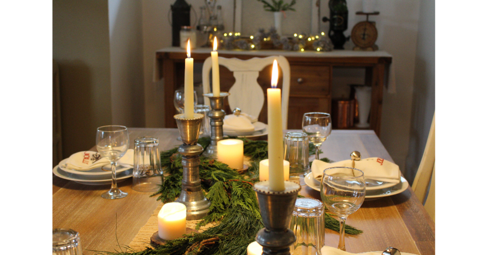 Candles lit on the table