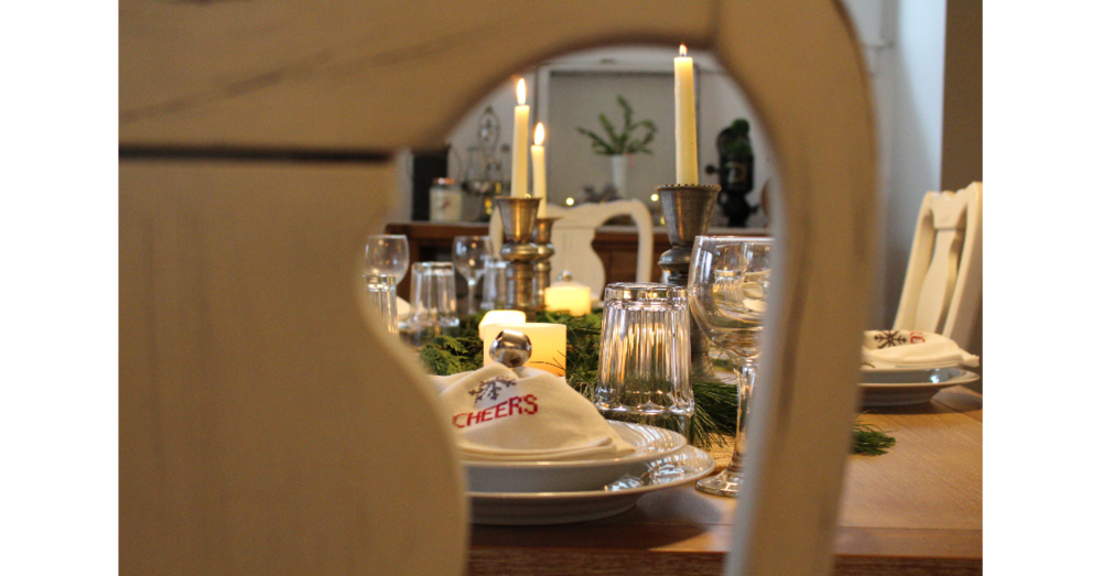 Tablescape through the chair