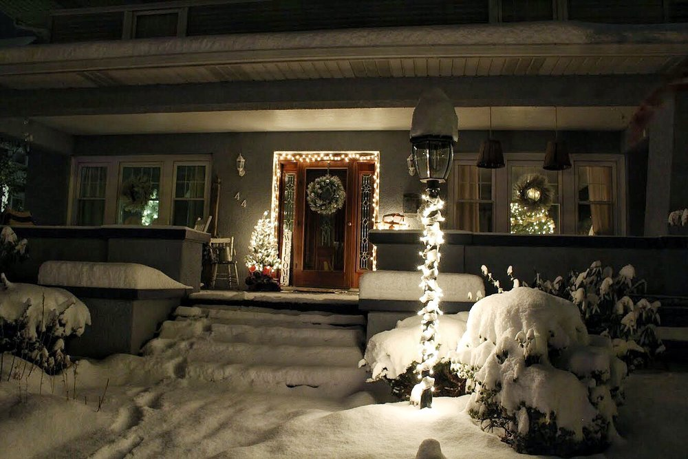 Christmas porch at night