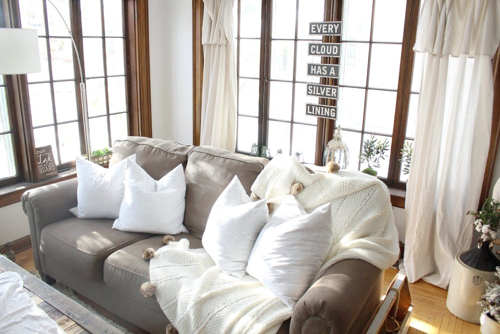 Comfy Blankets in the sunroom