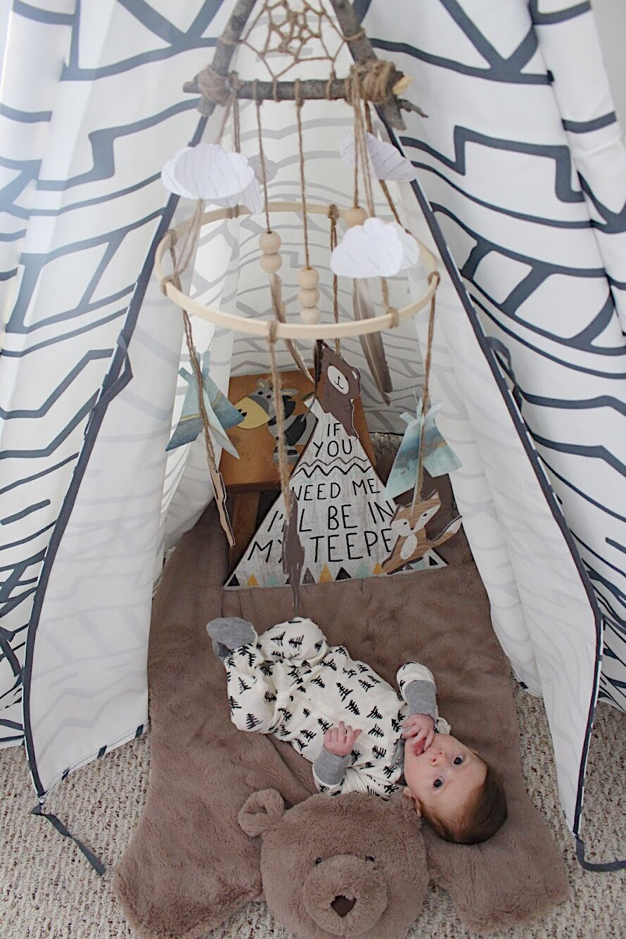 Dominic at 5 Months under the teepee