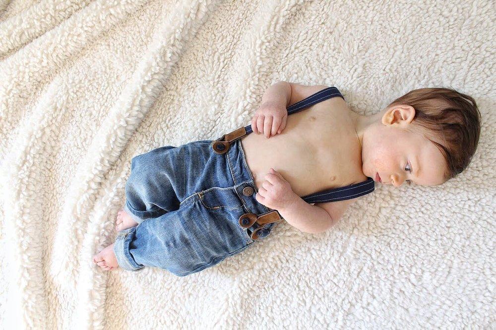 Dominic in overalls