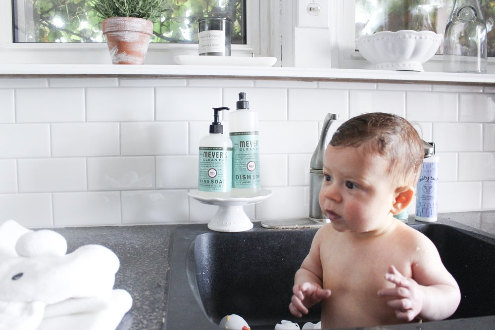 Dominic in the sink