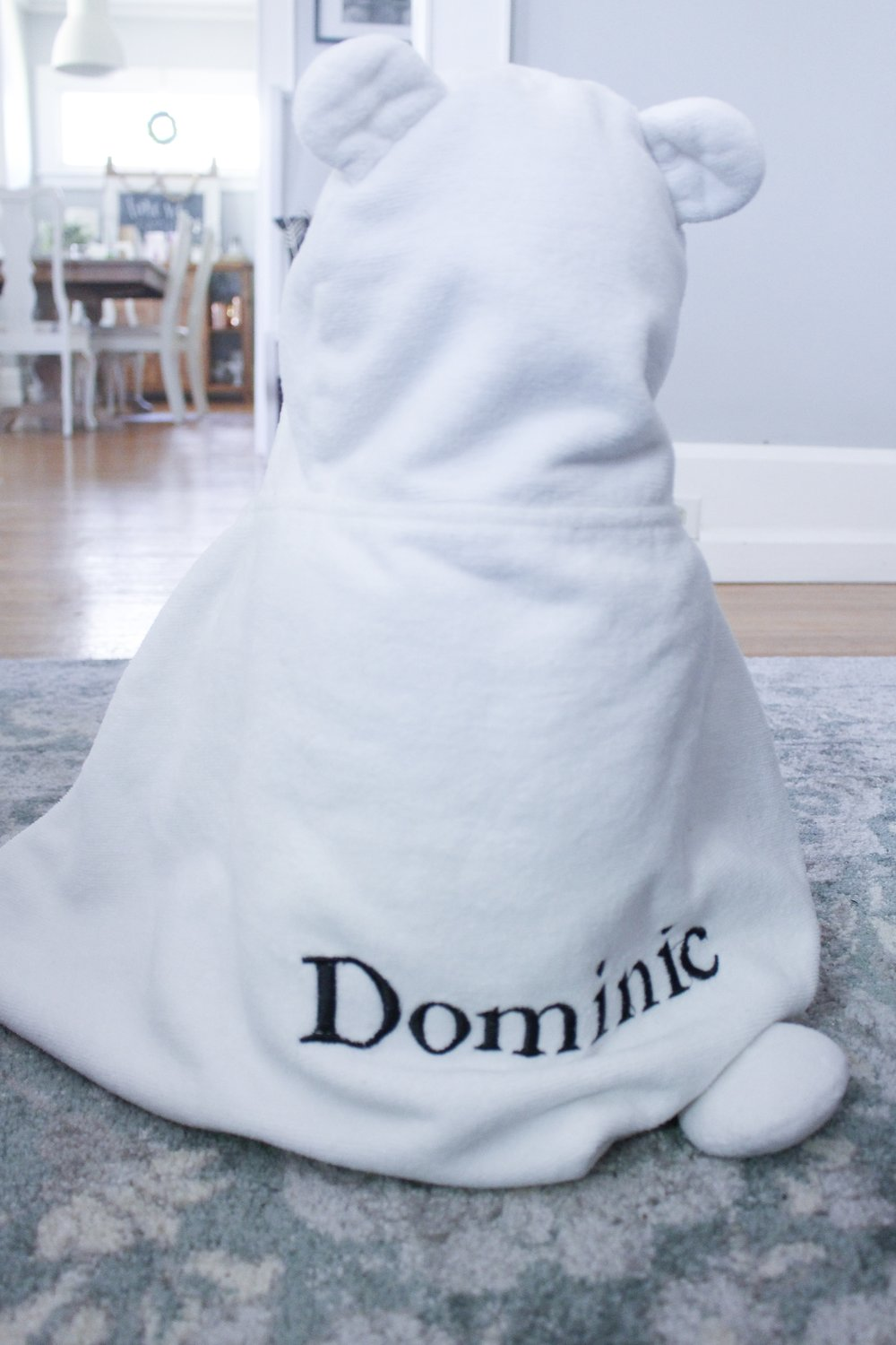 Dominic in a towel