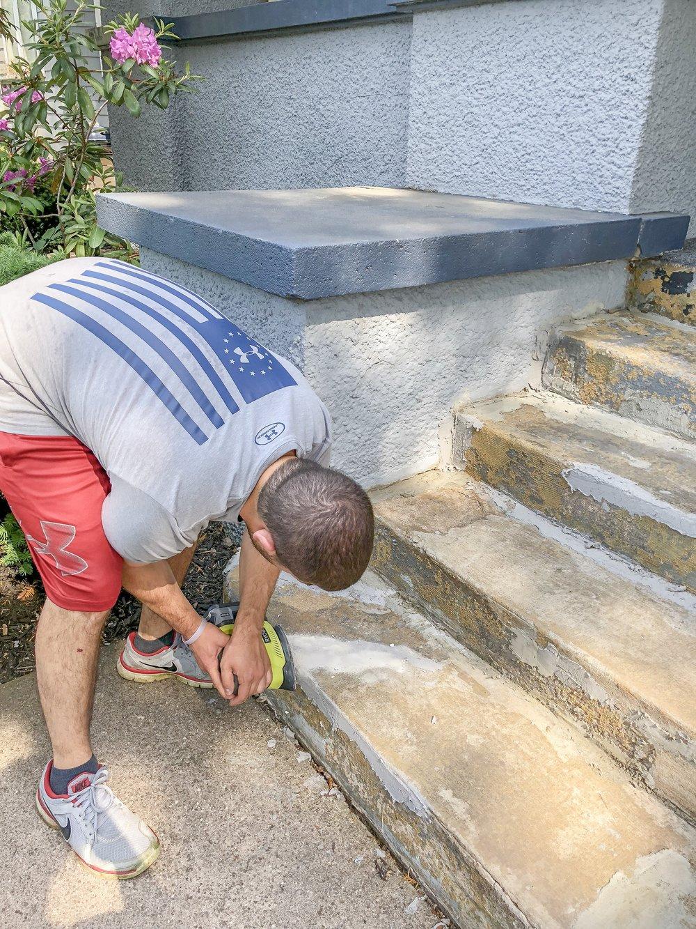Sanding the steps