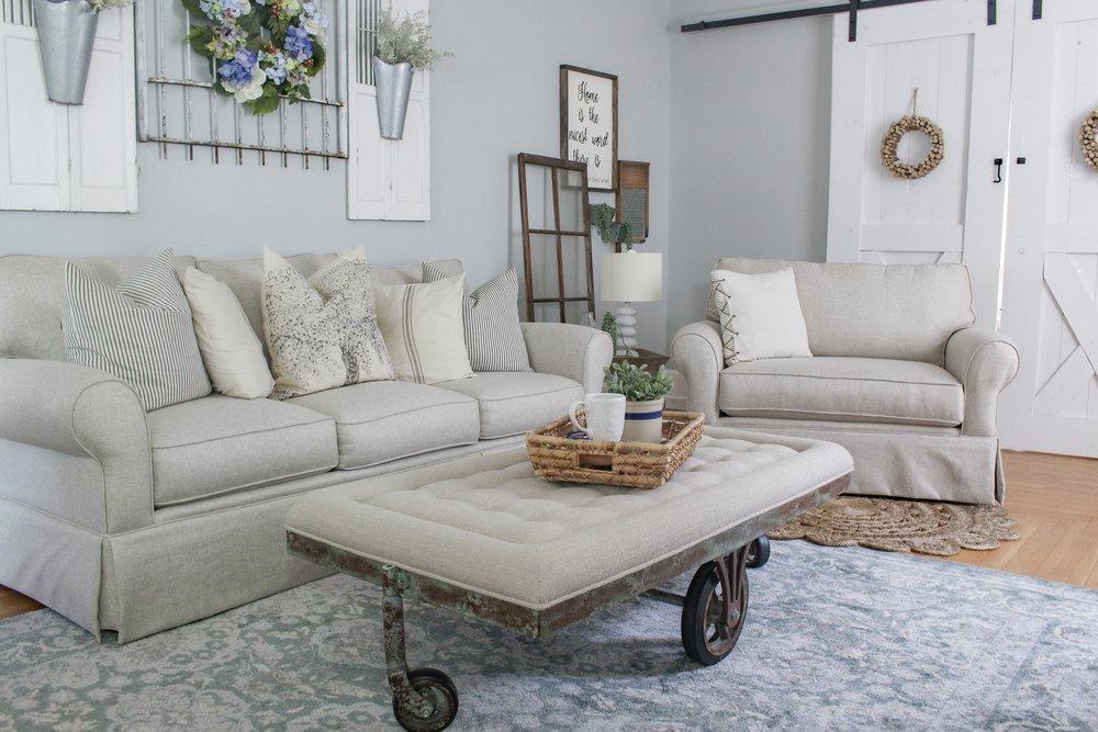 Coffee table, sofa, and chair
