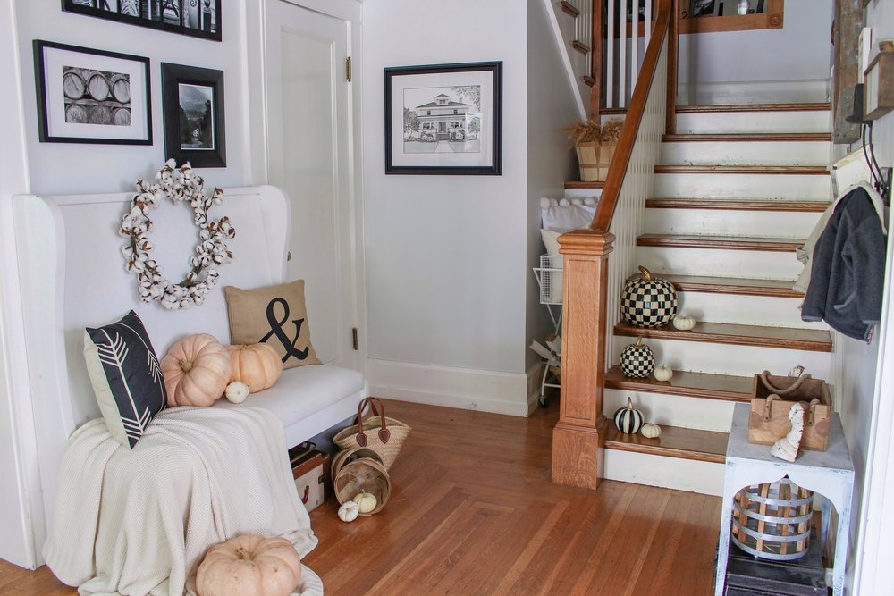 Fall entryway with pumpkins