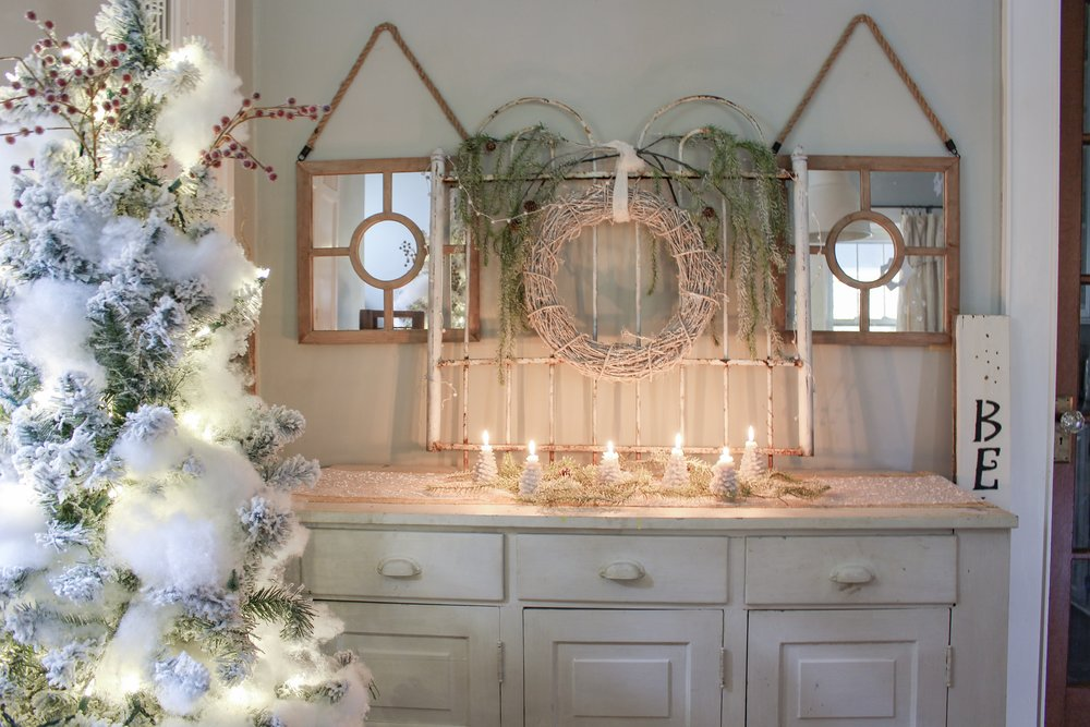 Christmas candles and wreath