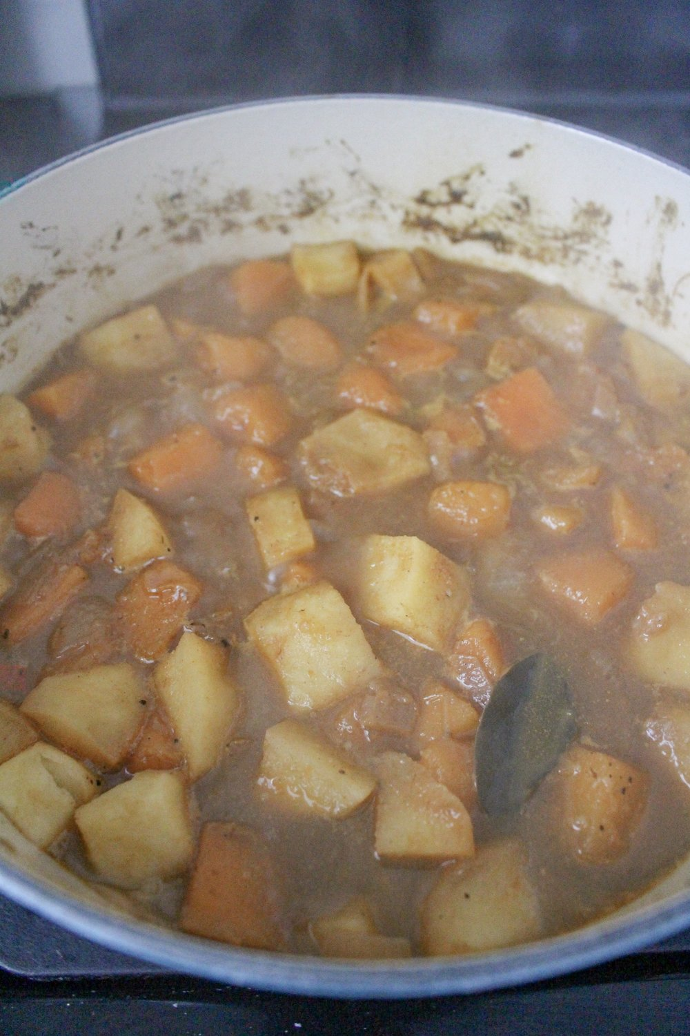 Butternut squash simmering for soup