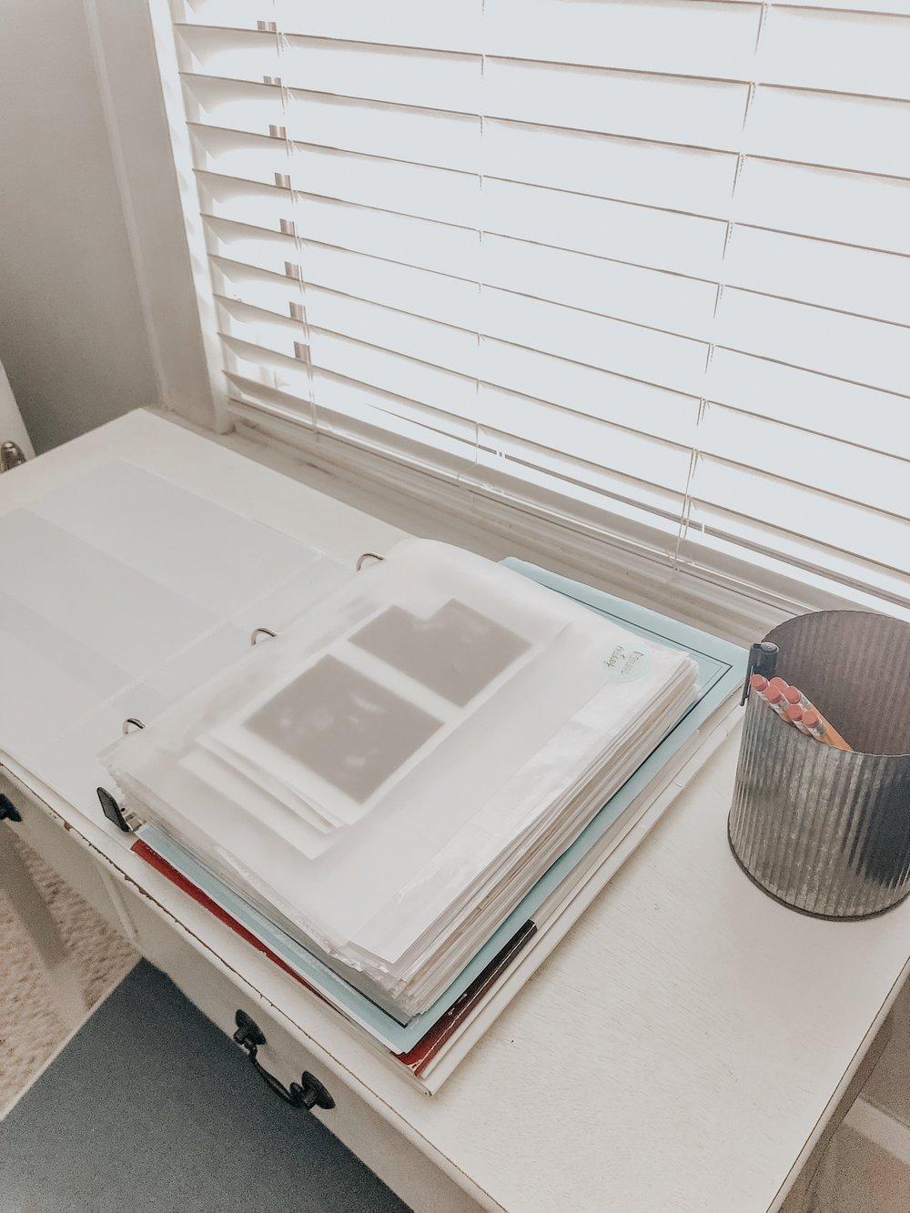 Paperwork organized in the binder