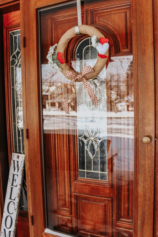 Completed wreath on door