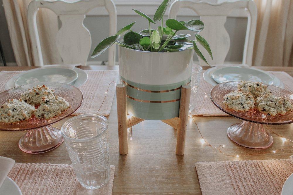 Spring tablescape centerpiece