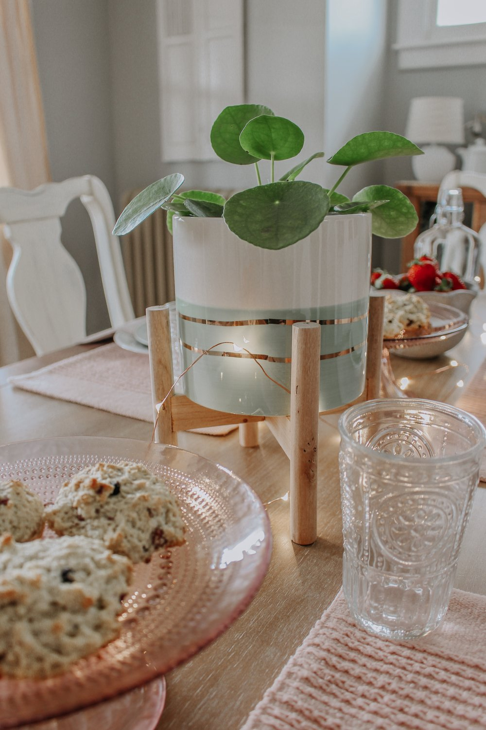 Food served at the spring tablescape