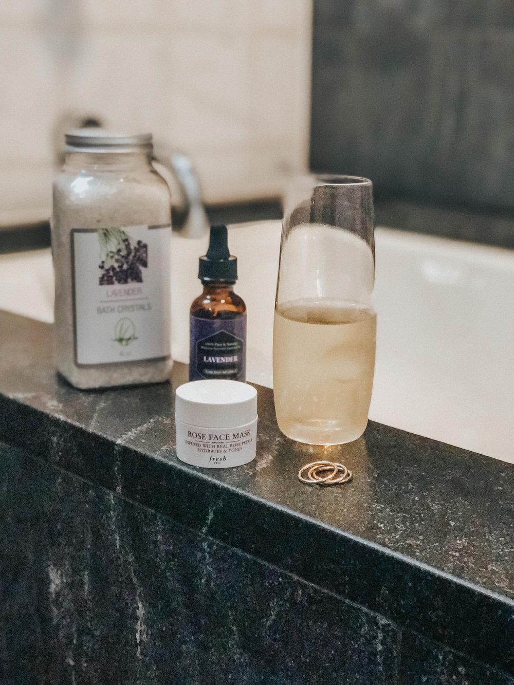 Lavender Scented Bath Salts  Lavender Oil   Rose Face Mask   Champagne   Reduce Stress