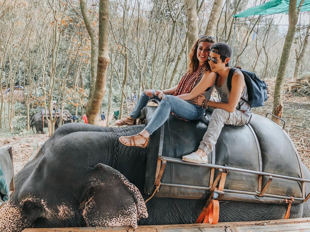 Riding Elephants in Kerela, India