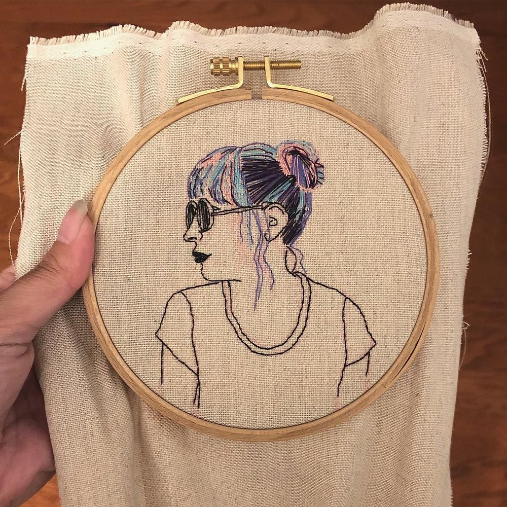 Third embroidery project - self portrait. Had a lot of fun with this one! I bought some new fabrics to try next. ☺️•••#modernembroidery #embroidery #embroideryart #handembroidery #selfportrait #contemporaryembroidery.jpg