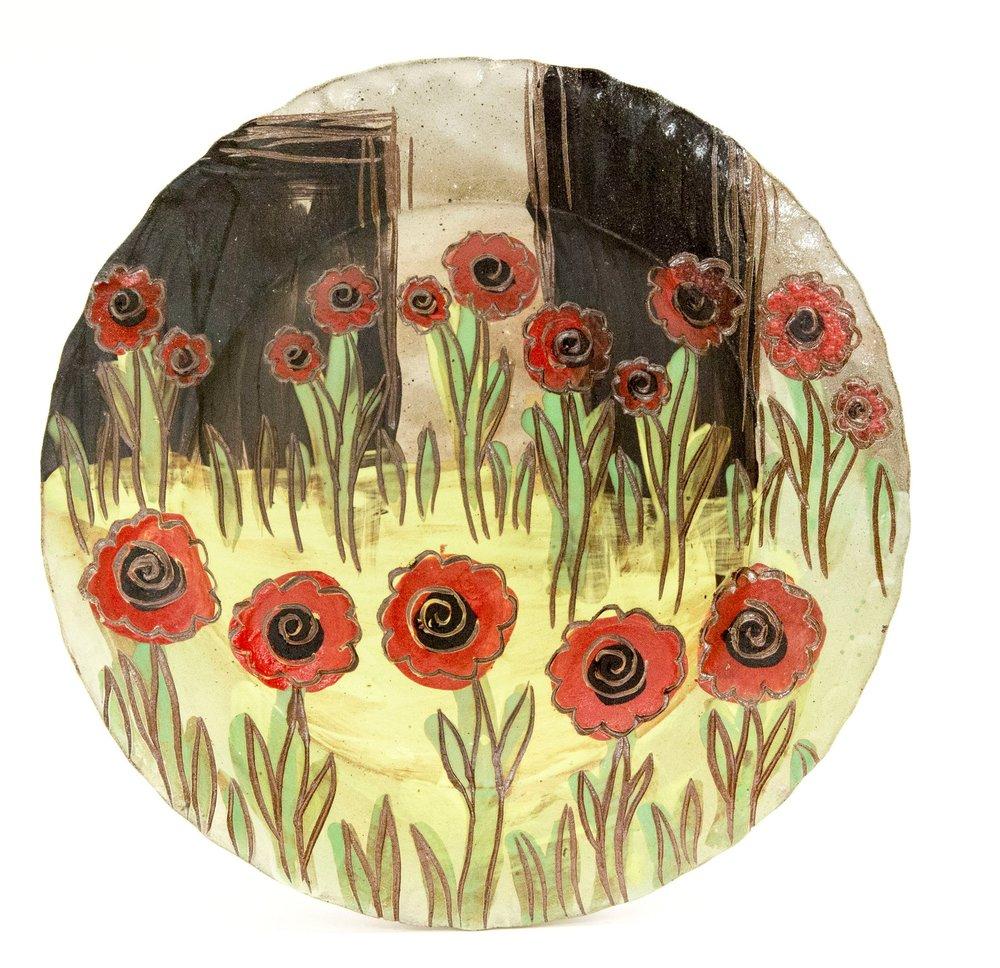 Poppy Platter, Brown Stoneware, Δ6 Reduction Salt-Fired, 2017