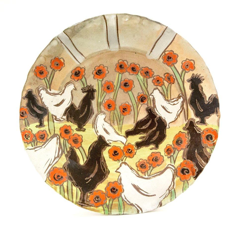 Chicken Platter, Brown Stoneware, Δ6 Reduction Salt-Fired, 2017