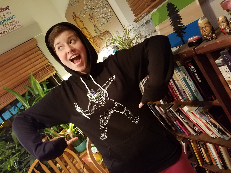 Thanks for being an unwitting hoodie model Jay T. Yeah that's right, don't think we don't rock these things wherever we go :)